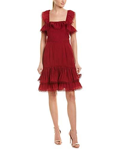 (Keepsake The Label Women's Too Close Sleeveless Pleated Tier Ruffle Fitted Mini Dress, Berry XS)