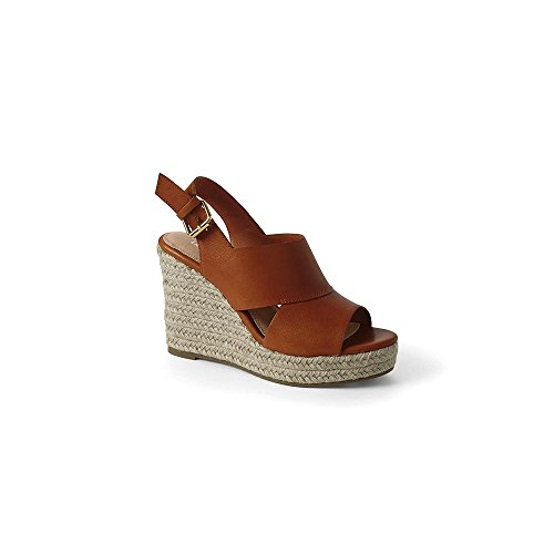 Lands' End Canvas Women's Pieced Wedge Sandals, 9, Honey