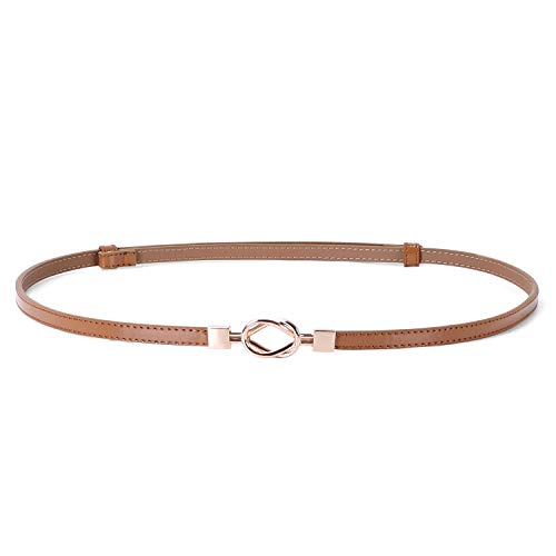 Women Vintage Skinny Leather Belt for Dress/Blouse, Adjustable Waistband fit 23-40inch (01 Brown)