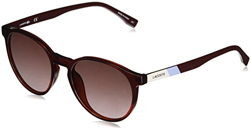 Lacoste Unisex L874s Color Block Round Sunglasses, Burgundy, 52 mm