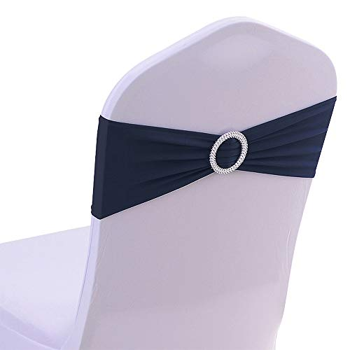 50PCS Spandex Chair Sashes Bows Elastic Chair Bands with Buckle Slider Sashes Bows for Wedding Decorations (Navy)