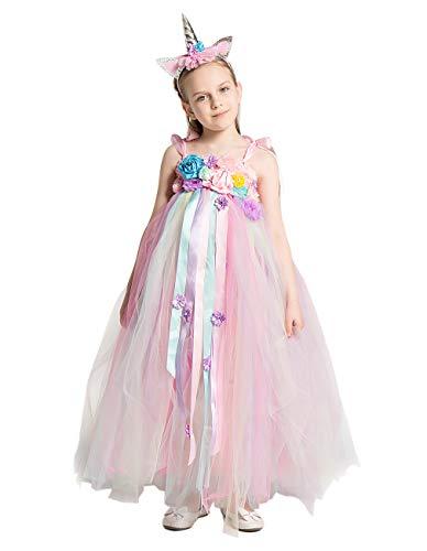 Angelaicos Girls Floral Princess Tutu Dress Birthday Party Fairy Unicorn Costume (110)]()