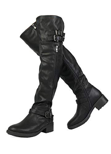 DREAM PAIRS Women's Argentina Black Over The Knee Riding Boots Size 9.5 M US