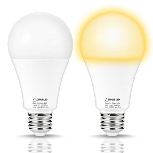 LOHAS LED Dusk Till Dawn Light Sensor Bulbs, 150W Equivalent A21 Light Bulb, Auto ON/OFF Porch Lights Outdoor, Soft White 3000K E26 Base 120V Light Control Light Smart Sensing Lighting(2 PACK) For Sale