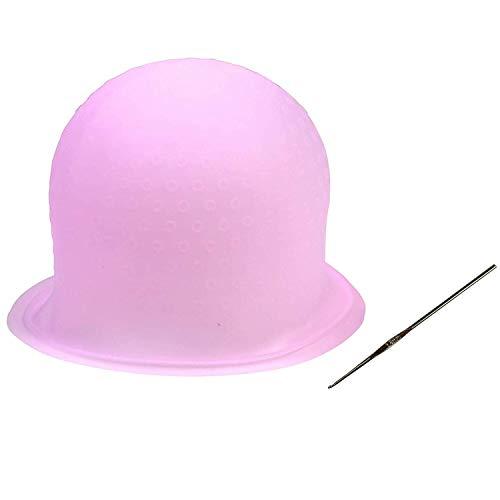 依存する不調和科学毛染めキャップ 洗って使える ヘアカラー メッシュ シリコン ヘア キャップ(かぎ針付き) 再利用可能 染め専用 ボンネット 部分染め 自宅 DIY (ピンク)