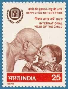 Sams Shopping International Year of Child Child Event Personality Mahatma Gandhi Freedom Fighter Non Violence Indian National Congress Emblem Olive Wreath Kotinos Writing Slate 25 P Stamp