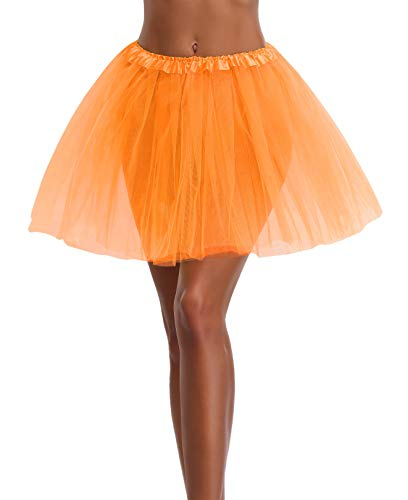 Women's, Teen, Adult Classic Elastic 3, 4, 5 Layered Tulle Tutu Skirt (One Size, Orange 3Layer)