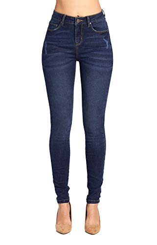 Blue Age Women's Well Stretch Distressed Denim High Rise Skinny Jeans (JP1080_DK_3)