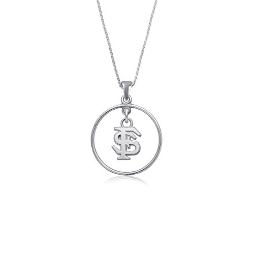 (Florida State University Seminoles FSU Sterling Silver Jewelry by Dayna Designs (Open Drop Necklace))