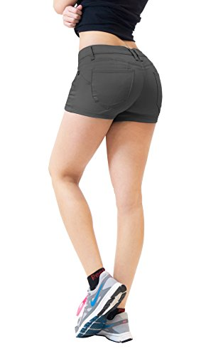 HyBrid & Company Womens Butt Lifting Twill Denim Shorts-SH43308X-GUN METAL-14]()