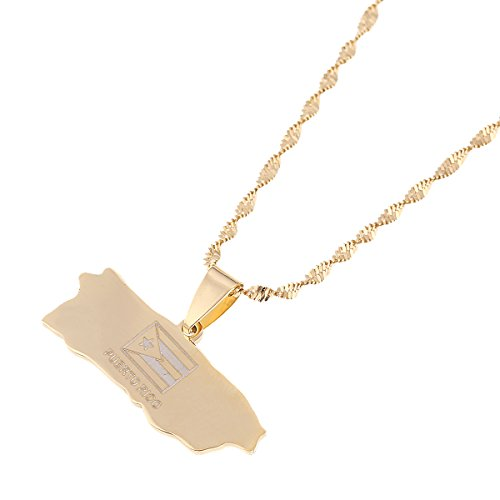 cheap Puerto Rico Map Pendant Chain For Women Puerto Ricans Map Jewelry for sale
