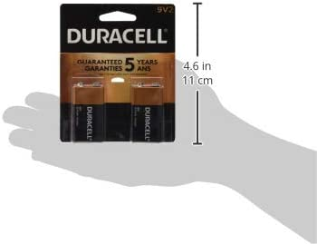 Duracell CopperTop 9V Alkaline Batteries long lasting 2 count all-purpose 9 Volt battery for household and business