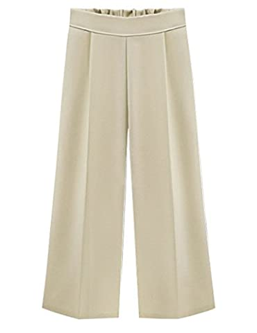 Tanming Women's High Elastic Waist Ankle Length Cropped Wide Leg Pants Mutiple Colors (X-Large, - Color Shoes Pants