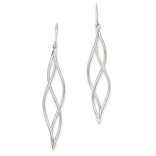 Genuine 14k White Gold Polished Long Twisted Dangle Earrings 51 - Tube Dangle 14k Earrings