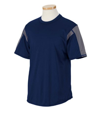 Russell Athletic 6B2DPM Dri-Power Short-Sleeve Performance T-Shirt - Navy/Steel - - Contrast Collar Crew T-shirt