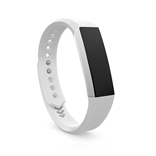 Teak Necklace - Teak - Adjustable Silicone Replacement Band for Fitbit Alta - Small, White