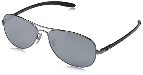 Carbon Fiber Ray - Ray-Ban Men's RB8301 Aviator Sunglasses, Shiny Gunmetal/Polarized Blue Mirror Silver, 56 mm