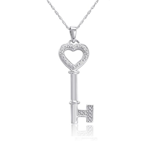 Sterling Silver and Diamond Key to Your Heart Pendant Necklace 18 in. - Heart Necklace Diamond Key