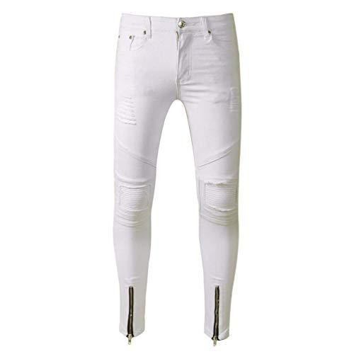 Jeans Chándal Mezclilla Mezclilla Pantalones Azul De Pantalones Azu Delgados Pantalones Pantalones Informales De Desgastados Estampados Skinny Azul De Hombres Jeans Chándal De Pantalones Blanco Mezclilla De r0AqTr