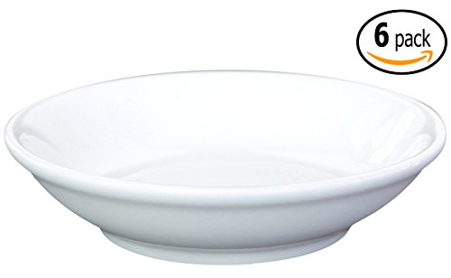 Ceramic Side Sauce Dish and Pan Scraper, 3.75 Inch, 3 Ounce, Bone White, 6-Pack