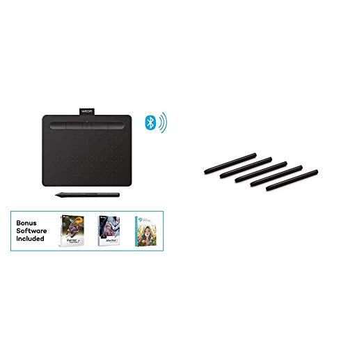 """Wacom Intuos Wireless Graphics Drawing Tablet with 3 Bonus Software Included, 7.9"""" X 6.3"""", Black (CTL4100WLK0) Small (Wireless) Bundle with Wacom ACK20001 Standard Nibs"""