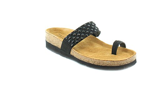 Naot Women's Nevada Toe Ring Sandal, Black, 37 EU/6 M (Toe Ring Flat Sandals)