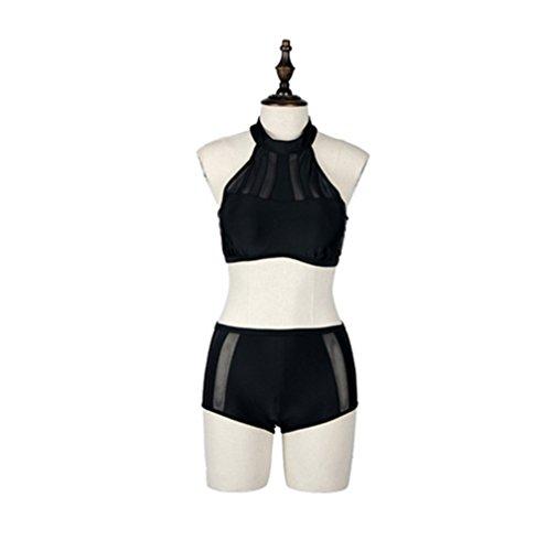 Frauen Schwarzen Bikini Badeanzug, 2 Stück Kleine Wohnung Sammelt Skinny Teilen Bademode schwarz