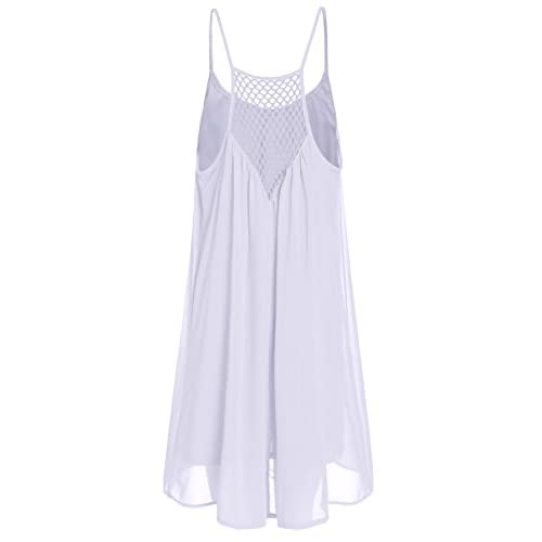 208f485d5c on sale ROMWE Women s Spaghetti Strap Sundress Hollow Out Summer Chiffon  Beach Short Dress