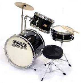 tko 3 piece children 39 s drum set with throne cymbal black musical instruments. Black Bedroom Furniture Sets. Home Design Ideas