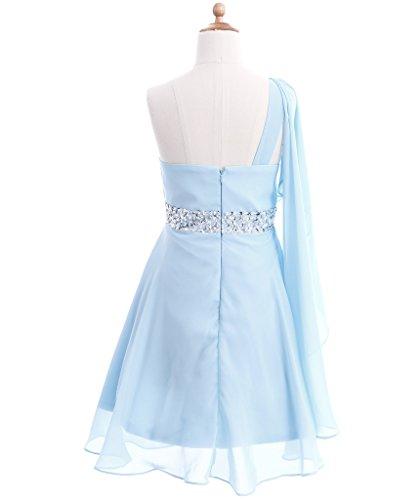 FAIRY COUPLE Big Girl's One Shoulder Embellished Short Chiffon Flower Girl Dress K0140 8 Light Sky Blue