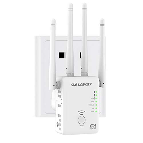 GALAWAY Upgraded AC1200 Dual Band WiFi Range Extender Wireless Repeater Internet Signal Booster with 4 High Power External Antennas 2 Ethernet Ports for Whole Home WiFi Coverage