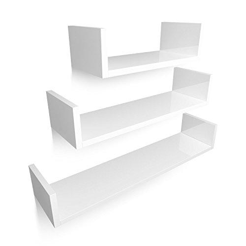 Homfa Estanteria de Pared Estanterias Cubos Juego de 3 Estantes para Libros CDs Blanco