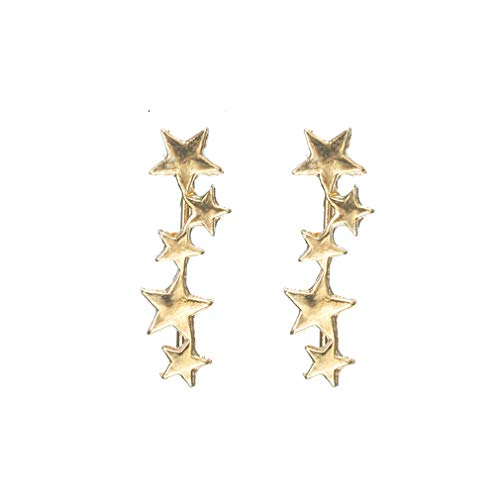NIKOLay Pentacle Ear Cuff Clip Elegant Simple Stud Earring Christmas Thanksgiving Valentine's Day Present,Gold