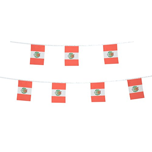 TSMD Peru Flag, 100 Feet Peruvian Flag National Country World Pennant Flags Banner,Party Decorations for Grand Opening,Olympics,Bar,World Cup,School Sports Events,International Festival Celebration