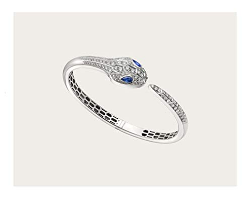 Serpenti Snake Bvlgari Style 18k Solid White Gold Round Natural Diamond Blue Sapphire Women Cuff Bracelet Engagement Wedding Bridal Love Anniversary Party Jewelry All Wrist Size Available