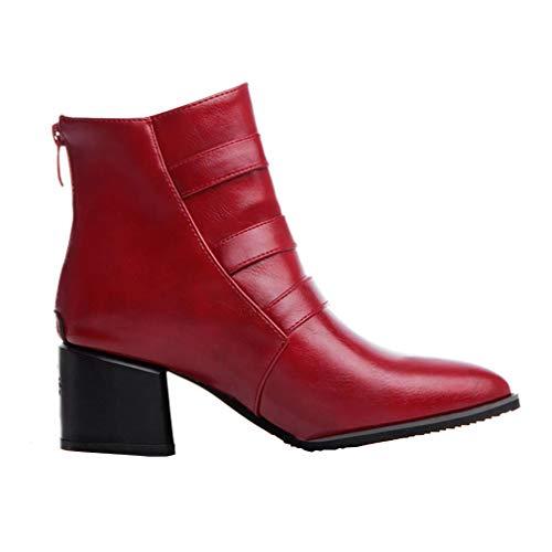 Vaneel Zipper Boots Toe 5 Women Pointed Block Heel 6CM UK Red 7 vaxzpt rOrqxp