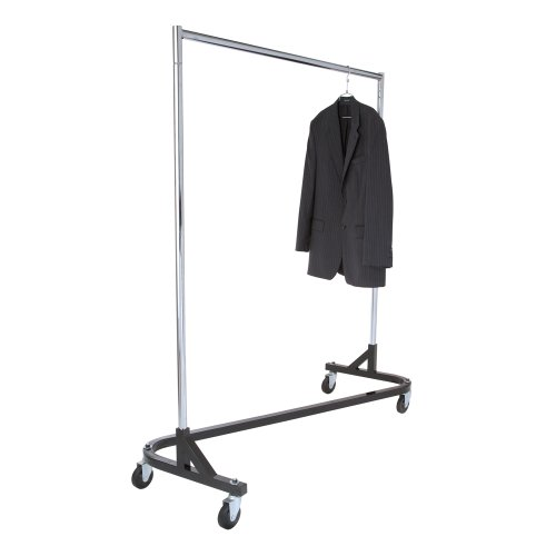 - Econoco Commercial Garment Rack (Z Rack) - Rolling Clothes Rack, Z Rack With KD Construction With Durable Square Tubing, Commercial Grade Clothing Rack, Heavy Duty Chrome Commercial Garment Rack - Black