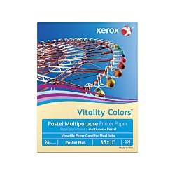 Paper Ivory Recycled (Xerox Vitality Colors Pastel Plus Multipurpose Printer Paper, Letter Size, 24 Lb, 30% Recycled, Ivory, Ream of 500 Sheets)