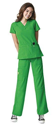 WonderWink Four-Stretch Women's Medical Uniforms Scrub Set Bundle- 6214 Sporty V-Neck Top & 5214 Elastic Waist Cargo Pant & MS Badge Reel (Lime - Medium/Medium Petite)
