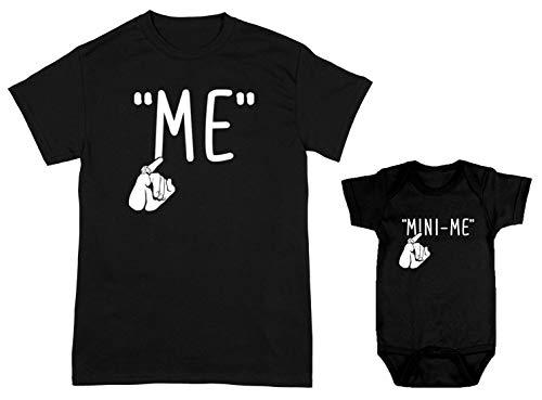 HAASE UNLIMITED Me/Mini-Me 2-Pack Bodysuit & Men's T-Shirt (Black/Black, XXX-Large/12 Months)