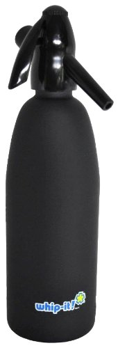 Whip-It 1-Liter Soda Siphon, Rubber Coated, Black
