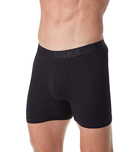2(X)IST Men's Pima Stretch Boxer Brief Underwear, Pure Black/Natural, X-Large ()