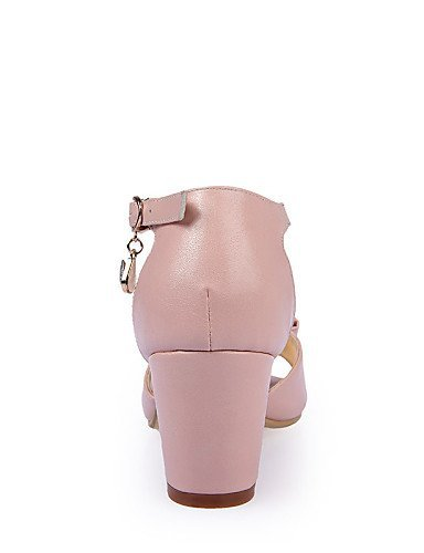 ShangYi Womens Shoes Chunky Heel Heels Sandals Party & Evening / Dress / Casual Pink / White Pink