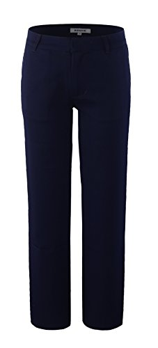 Bienzoe Boy's School Uniforms Durable Adjustable Waist Flat Front Pants Navy 14 ()