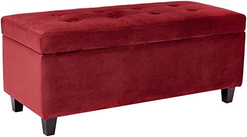Red Hook Vellara Shoe-Storage Ottoman with Tufted Microfiber Upholstery, Cherry Red ()