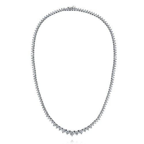 BERRICLE Rhodium Plated Sterling Silver Cubic Zirconia CZ Graduated Tennis Necklace 18'' by BERRICLE