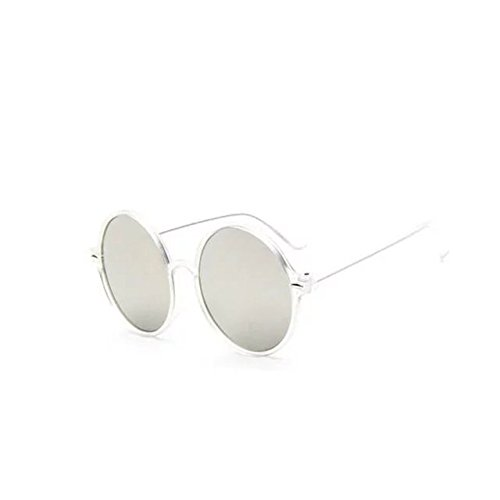 Garrelett Retro Classic Outdoor Round Sunglasses Reflective Sun Eyewear Eyeglasses Clear Frame White Lens for Men Women