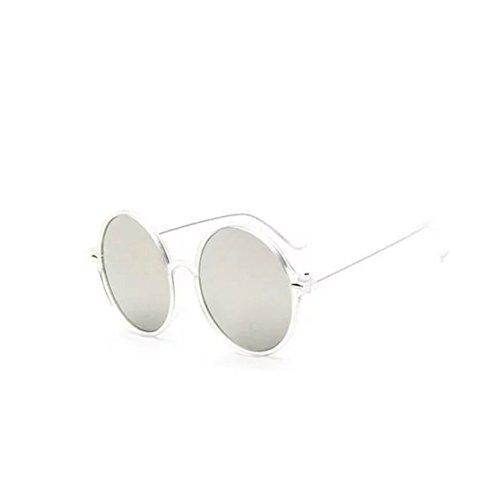 Garrelett Retro Classic Outdoor Round Sunglasses Reflective Sun Eyewear Eyeglasses Clear Frame White Lens for Men Women