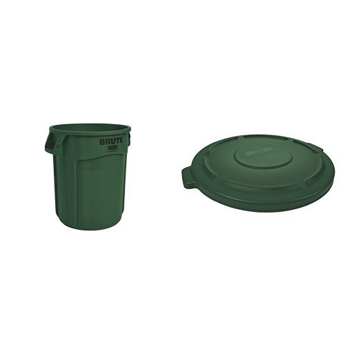 Rubbermaid Commercial BRUTE Trash Can, Vented, 20 Gallon, Dark Green with Lid (FG262000DGRN & FG261960DGRN)