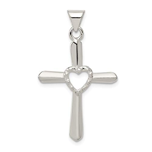 925 Sterling Silver Textured Cross Religious Heart Pendant Charm Necklace Love Fine Jewelry For Women Gift Set